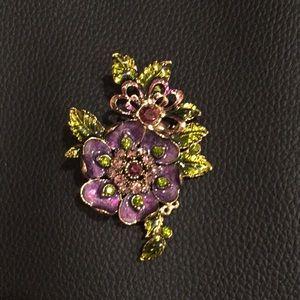 Monet purple-green enamel/purple rhinestone brooch